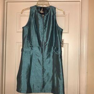 Teal Shiny Mini Dress